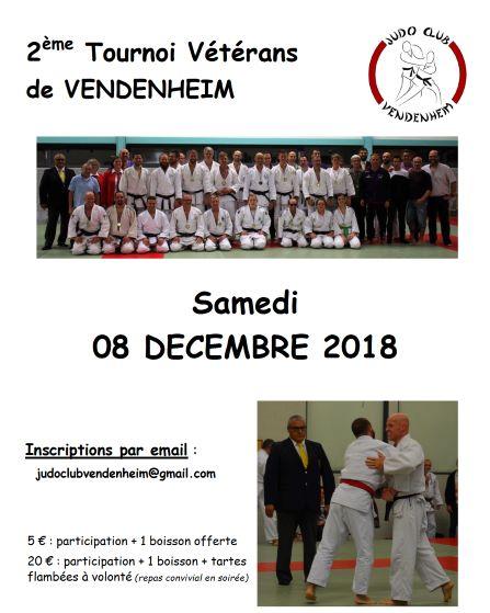 8  décembre 2018 –  LE JCV organise la 2ème édition de l'open vétérans de Vendenheim